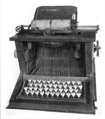 Sholes_typewriter from Leading American Inventors by George Iles 1912 (public domain image US - pre 1923)